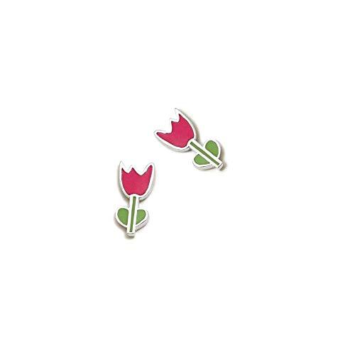 Sterling Silver Earrings 925M Agatha Ruiz De La Prada 10mm. Green Tulip Collection Enameled