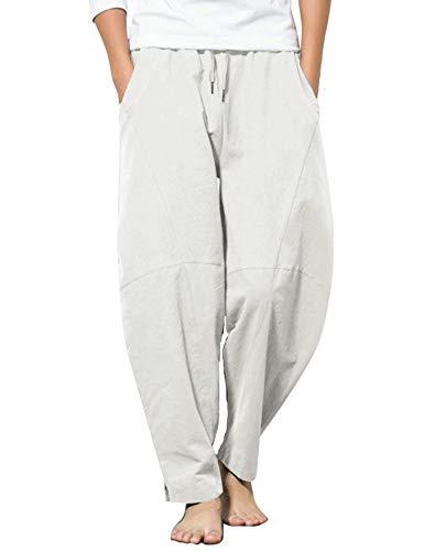 COOFANDY Pantalones de algodón y lino para hombre, ligeros, elásticos sueltos, pantalones de yoga, Blanco, XXL