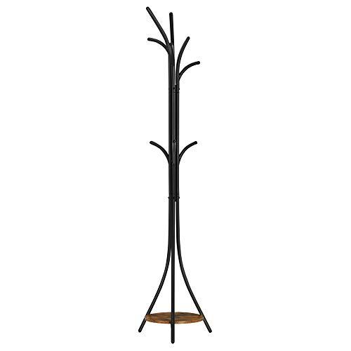 VASAGLE Garderobenständer, Kleiderständer, mit Ablage und 6 Haken, für Kleidung, Taschen, Hüte, 41 x 41 x 183,5 cm, Industrie-Design, vintagebraun-schwarz RCR013B01V1
