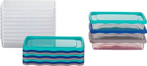 Kigima Frischhaltedosen Gefrierdosen 0,5l (400ml) flach 12er Set mit Deckel blau/türkis/grau
