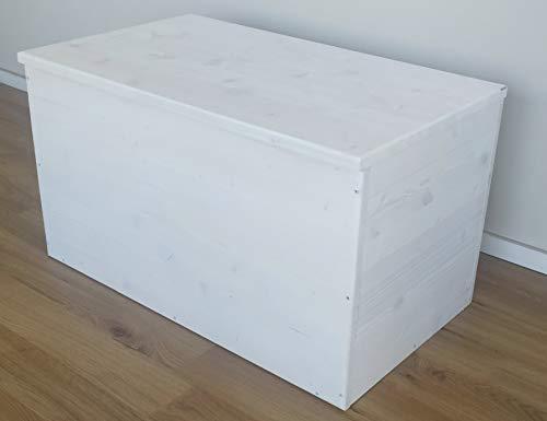 TOTAL WOOD 2012 Cassapanca Baule Contenitore in Legno 70x40x40cm Color Bianco decapato