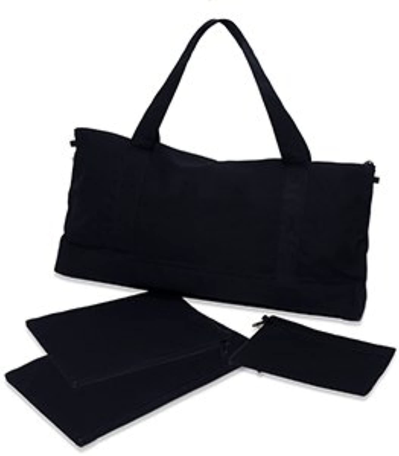 Winds Blow Mah Jongg Black Canvas Over The Shoulder Travel Tote with 3 Zippered Pouches  2 for Tiles and 1 for Card and Money