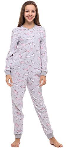 Merry Style Mädchen Jugend Schlafanzug Strampelanzug Schlafoverall(Melange/Einhorn, 170)
