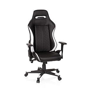 hjh OFFICE 722501 silla gaming GUIDE piel sintética negro / blanco silla de escritorio inclinable respaldo alto