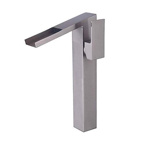 Wasserfall Waschbecken Wasserhahn Gebürstetes Nickel Einhand bad toilette wasserhahn Ein-Loch-Hebel Waschtisch-Mischbatterie zur Aufsatzmontage, Höhe 30,5 cm