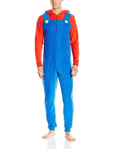 Men's Super Mario Bros Union Suit Pajama Costume, Size L/XL Blue