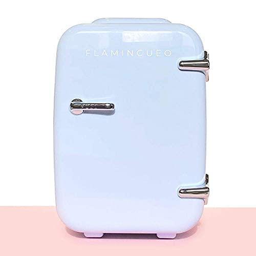 Flamingueo Mini Frigo de Chambre - Petit Frigo 4L, Mini Frigo Cosmetique, Frigo Portable, Réfrigérateur Électrique Portable 12V/220V, Fonction Chaud/Froid, Petit Frigo de Chambre