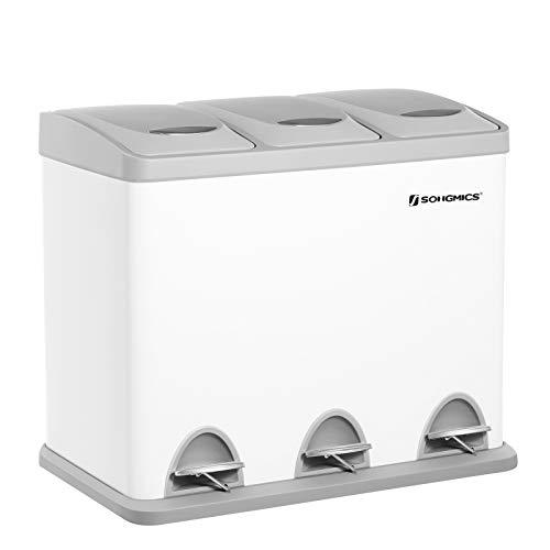 SONGMICS Cubo de Basura, Basurero con Pedal 3 en 1, 3 x 8 litros, Sistema de Separación de Residuos para la Cocina, Duradero, Fácil de Limpiar, Acero, Blanco LTB24WT