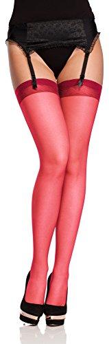 Antie Medias Autoadhesivas Sin el Cinturón Lencería Sexy Mujer O 4006 20 DEN (Rojo, XL (Tamaño del fabricante: 5))