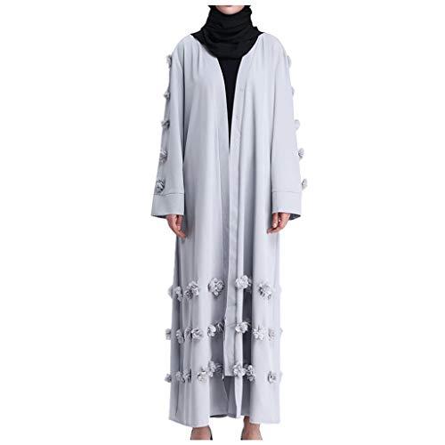 Vestido de mujer Maxikleid, kimono abaya, vestido de encaje, Dubai Islamic árabe Kaftan Robe Dubai elegante vestido de musulmana Kaftan chaqueta de punto Robe gris gris XL