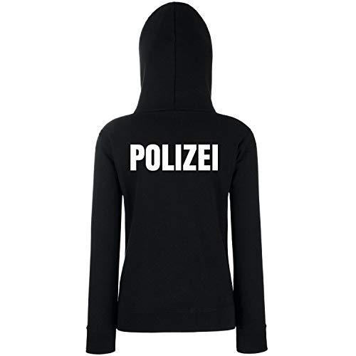 Shirt-Panda Damen Polizei Hoodie - Druck Brust & Rücken Reflex Schwarz (Druck Weiß) S