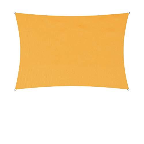 Lumaland Sonnensegel inkl. Befestigungsseile - Rechteck 2 x 3 Meter - 160 g/m² Polyester mit doppelter PU-Beschichtung - UV-Schutz 30+, wasserabweisend, atmungsaktiv, wetterbeständig - Gelb
