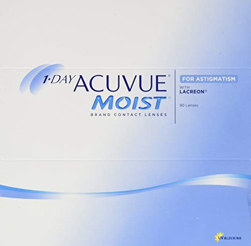 Acuvue 1-Day Acuvue Moist For Astigmatism Tageslinsen weich, 90 Stück/ BC 8.5 mm / DIA 14.5 mm/ CYL -2.25 / ACHSE 80 / -0.5 Dioptrien