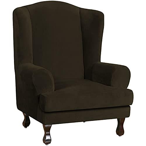 E EBETA Samt-Optisch Sesselbezug, Sessel-Überwürfe Ohrensessel Überzug Bezug Sesselhusse Elastisch Stretch Husse für Ohrensessel (Braun)