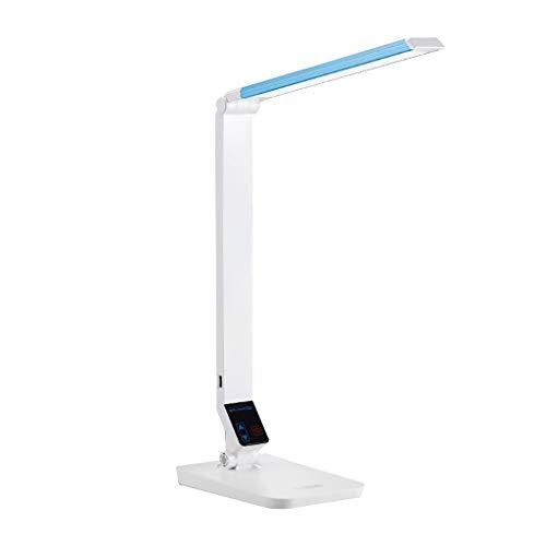 Binn Lámpara de Escritorio Led Escritorio del LED con la lámpara de Carga USB Puertos Eye-Cuidado, Reading Eye-Caring Niveles de Brillo de la lámpara 5, Control táctil de luz LED (Color : White)