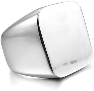خاتم ستانلس ستيل للرجال بلون فضي لامع قياس 8