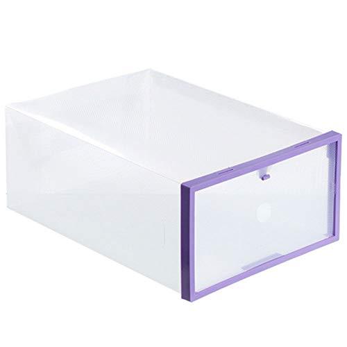 JUZIPI 1/4/10Pcs - Organizador de Zapatos Transparente, Apilable y Impermeable, Caja de Almacenamiento Plegable, Ahorra Espacio, Zapateros para Hombres y Mujeres 42 * 34.5 * 2cm