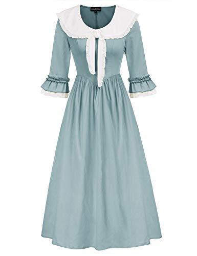 SCARLET DARKNESS Mujer Vestido Vintage de Novia con Corbata para Casual Medieval...