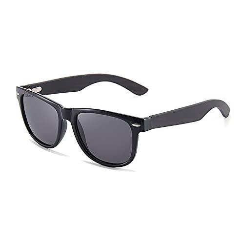QFSLR Gafas de sol, Clásico Redondo Polarizado Gafas de sol para Hombres y Mujeres, Gafas de sol de madera, Protección Uv400,C