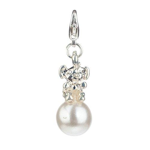 Diseño de CARLINO de plata diseño de coloures en blanco perla artificial con pinza clip On colgante Charm para Bettelarmbänder pulseras de VAGA