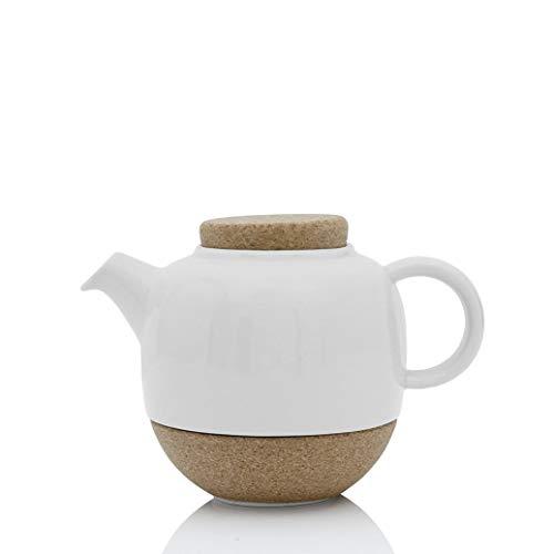 Théière en porcelaine avec couvercle en liège, avec infuseur thé en acier inoxydable en boule, bec anti-gouttes, 0.8 L, blanc V77702
