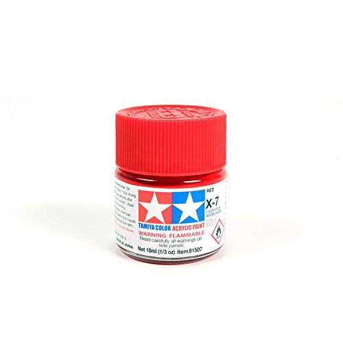 Tamiya 81507 - Pintura Acrílica Mini, Brillo Rojo Frasco de 10 ml, X-7