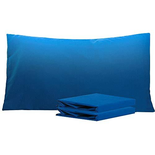 NTBAY Fundas de Almohada de Microfibra Lisa, Juego de 2 Fundas de Almohada Suaves, Antiarrugas y Resistentes a Las Manchas con Cierre de sobre, 50x90 cm, Azul Real