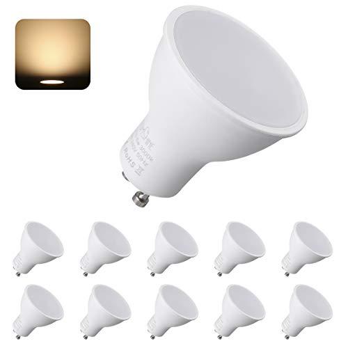GU10 LED Lampe, Tomshine LED Gu10 Lampe Warmweiss, 6W 3000K 550 Lumen LED Glühbirne Ersatz für 50W Halogenlampen,120°Abstrahlwinkel LED Leuchtmittel,AC220-240V 10er Pack LED Birnen【Energieklasse A++】