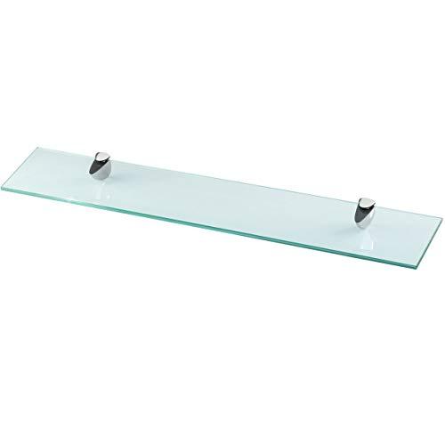 Glasregal Wandregal für Badezimmer Klarglas - Glas Regal aus 6 mm Sicherheitsglas 60x10,16x0,6cm - Glasablage Glasregalboden Badablage