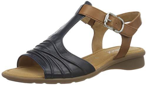 Gabor Shoes Damen Comfort Basic Riemchensandalen, Blau (Midnight/Camel 26), 38.5 EU