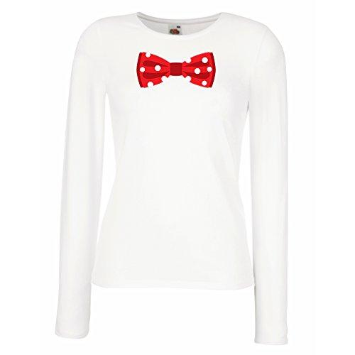 Weibliche Langen Ärmeln T-Shirt Look Like a Boss (Large Weiß Mehrfarben)