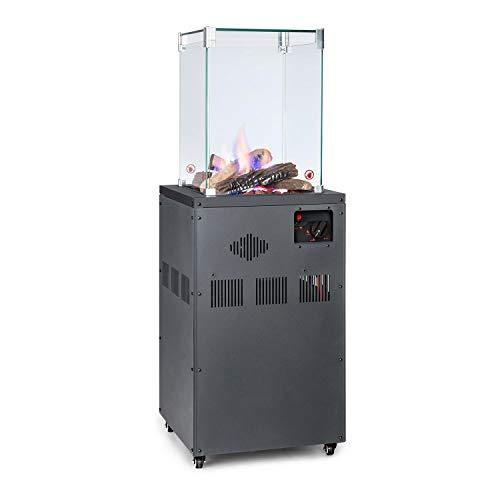 blumfeldt Flagranti Crystal View - Gasheizstrahler, Freiluftheizung, 8 kW Heizleistung, Gasflaschen bis 13 kg, 4 Fenster aus gehärtetem Glas, feststellbare Rollen, elektrisches Zündsystem, dunkelgrau