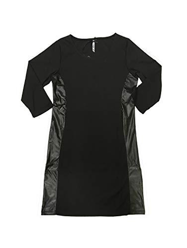 Million X Damen Kleid mit Ledereinsatz 40, Black