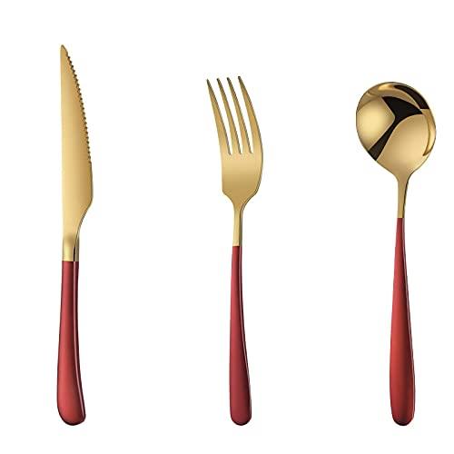 OUDEING Cutlery Set Juego de vajillas de Oro, 24pcs, Puede acomodar a 8 Personas, Incluyendo un Cuchillo/Tenedor/Cuchara-Oro Rojo 24pcs