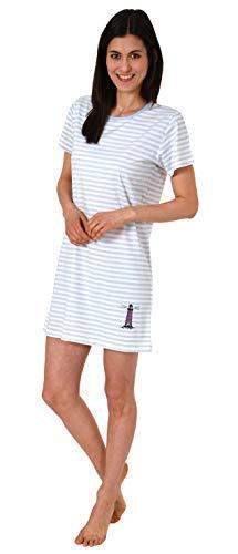 Damen Nachthemd Bigshirt Kurzarm in toller maritimer Streifen Optik 63332, Farbe:hellblau, Größe2:44/46