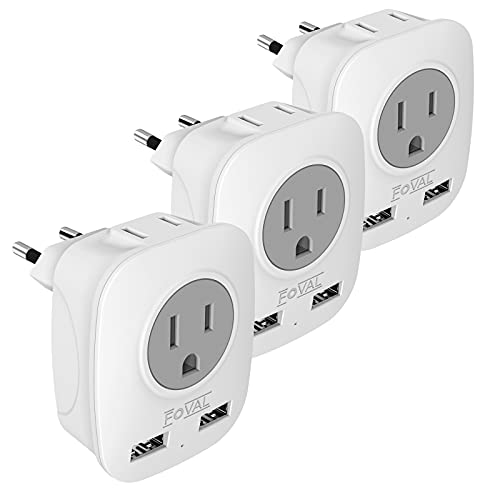 European Plug Travel Adapter 3 Pack, FOVAL International Power Adaptor with 2 USB, 2 American Outlets, 4 in 1 Outlet Adapter US to Most of Europe France Germany Spain Greece Italy Iceland (Type C)