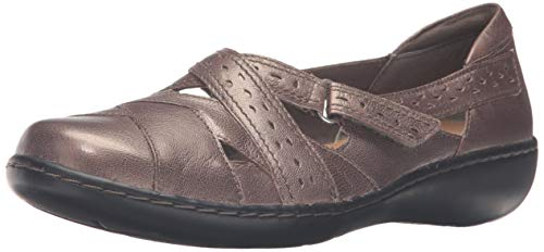 Clarks Women's Ashland Spin Q Slip-On Loafer, Pewter, 8 B(M) US