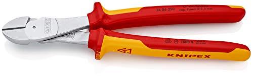 KNIPEX 74 06 250 Kraft-Seitenschneider verchromt isoliert mit Mehrkomponenten-Hüllen, VDE-geprüft 250 mm