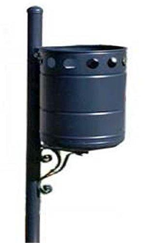 Papelera Pública Exterior de chapa galvanizada circular negra con poste. 45 Lt.