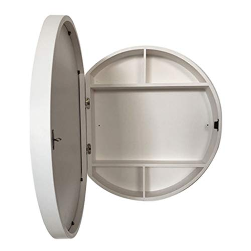 Spiegelschränke Badezimmerspiegelschrank Schlafzimmer Wandspiegelschrank Runde Kosmetikspiegelschrank Badezimmerspiegel Mit Regal Offene Tür (Color : Weiß, Size : 60cm/23.6 inch)