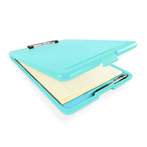 Portapapeles de plástico delgado estilo de enfermería con almacenamiento plegable abierto, tamaño de la escuela (35 x 24 x 2,5 mm) (Blue)