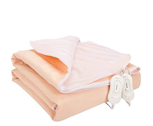 Authda Heizdecke Doppelbett fürs Bett Heizdecken xxl mit 2 Bedienelement Wärmeunterbett Warme Kuschelheizdecke Temperaturstufe Control