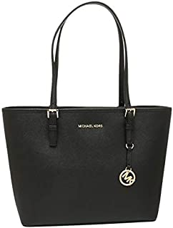 Michael Kors Women's Jet Set Travel Medium Carryall Tote Bag ' Saffiano Leather - Black
