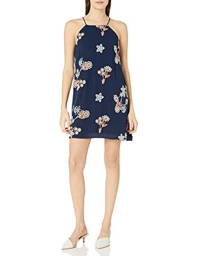 JOA Women's Floral Print Embroidered Flare Dress, Navy Multi, X-Small