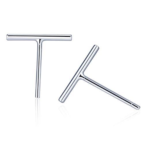 Belons 925 Sterling Silber Damen Mädchen Stab Ohrstecker Stäbchen Stecker Ohrringe Bar Earrings, 10mm