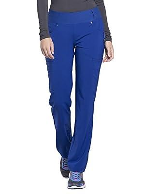 CHEROKEE iflex Mid Rise Straight Leg Pull-on Pant, CK002, M, Galaxy Blue