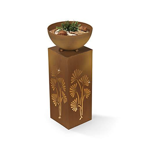 EASYmaxx Dekosäule mit Pflanzschale | Blumen Dekoration | Wohnzimmer, Garten, Terrasse | 59 cm [Rost-Optik]