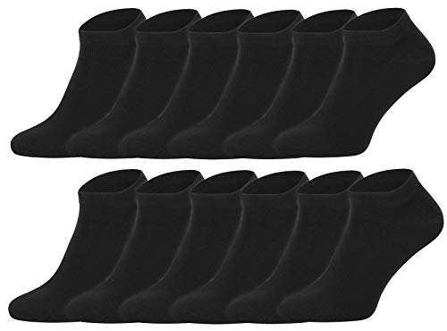 12 Paar Herren Sneaker Socken Füßlinge Kurzsocken Baumwolle (43-46, Schwarz)