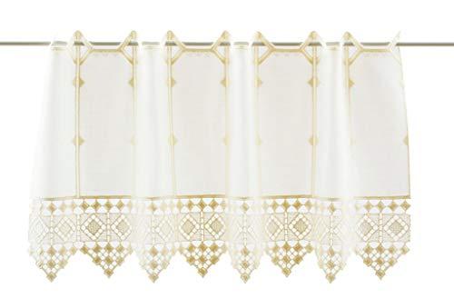 florentina Scheibengardine gehäkelter Abschluß 20 cm hoch | Breite der Gardine durch gekaufte Menge in 16 cm Schritten wählbar (Anfertigung nach Maß) | Creme | Vorhang Küche Wohnzimmer