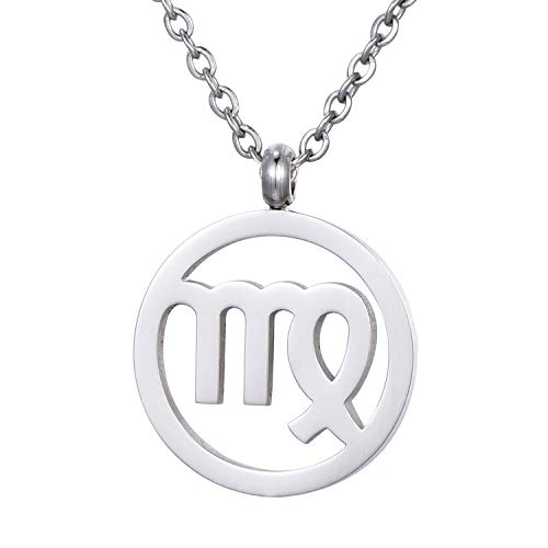 Morella Women's Stainless Steel Necklace Silver with Pendant Star Sign Virgo in a Velvet Bag